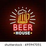 neon sign of beer house  bright ... | Shutterstock .eps vector #695947051