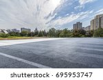 empty road with modern business ... | Shutterstock . vector #695953747