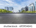empty road with modern business ... | Shutterstock . vector #695954041