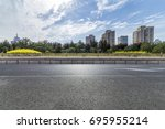 empty road with modern business ... | Shutterstock . vector #695955214