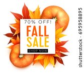 fall sale. realistic autumn... | Shutterstock .eps vector #695958895
