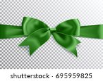realistic satin green bow knot... | Shutterstock .eps vector #695959825