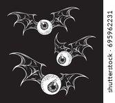 flying eyeballs with creepy... | Shutterstock .eps vector #695962231