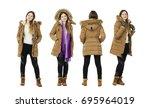 young blonde woman dress autumn ... | Shutterstock . vector #695964019