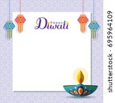 diwali message notes or copy... | Shutterstock .eps vector #695964109