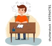 boy sitting and studying on the ...   Shutterstock .eps vector #695964781