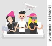 millennials using different... | Shutterstock .eps vector #695966494