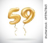 vector golden number 59 fifty... | Shutterstock .eps vector #695967865