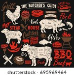 poster meat steak house with... | Shutterstock .eps vector #695969464