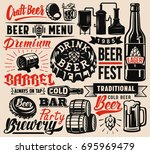 set of vector beer badges on... | Shutterstock .eps vector #695969479