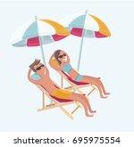 vector cartoon funny... | Shutterstock .eps vector #695975554