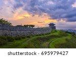 korea sunset at hwaseong... | Shutterstock . vector #695979427