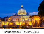 rome. the tiber river and saint ... | Shutterstock . vector #695982511