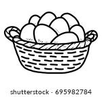 egg in basket   cartoon vector... | Shutterstock .eps vector #695982784