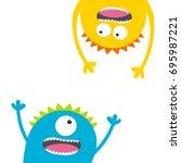 screaming monster set. head... | Shutterstock .eps vector #695987221