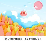 cable car paper art style with... | Shutterstock .eps vector #695988784