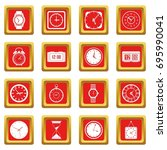 time and clock icons set in red ...