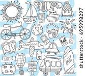 vector hand drawn doodle set... | Shutterstock .eps vector #695998297