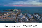 aerial view oil storage tank...   Shutterstock . vector #696001261