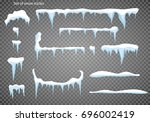 set of snow icicles  snow cap... | Shutterstock .eps vector #696002419