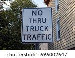 No Thru Truck Traffic Sign