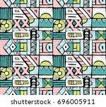 seamless african pattern.... | Shutterstock .eps vector #696005911