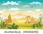 prehistoric cartoon landscape... | Shutterstock .eps vector #696006481