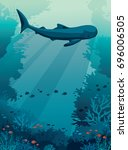 silhouette of big whale shark ... | Shutterstock .eps vector #696006505