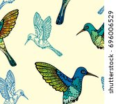 vector birds wallpaper.... | Shutterstock .eps vector #696006529