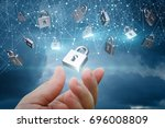 network with security locks on... | Shutterstock . vector #696008809