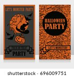 template for halloween party... | Shutterstock .eps vector #696009751