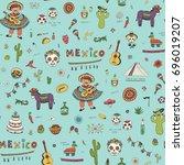 vector cartoon doodle seamless... | Shutterstock .eps vector #696019207