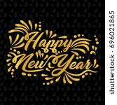 happy new year banner with gold ... | Shutterstock .eps vector #696021865