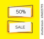 modern paper cut geometric sale ... | Shutterstock .eps vector #696025795