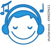 smiley face listening to the... | Shutterstock .eps vector #696029611
