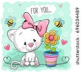 greeting card cute cartoon...   Shutterstock . vector #696034489