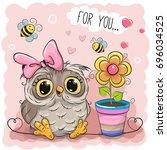 greeting card cute cartoon owl... | Shutterstock . vector #696034525