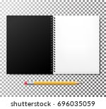 notebook mock up with pencil... | Shutterstock .eps vector #696035059