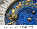 ancient clock torre dell... | Shutterstock . vector #696041599