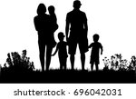 family silhouettes in nature. | Shutterstock .eps vector #696042031