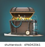 vector wooden treasure chest... | Shutterstock .eps vector #696042061