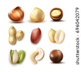 vector set of different nuts ... | Shutterstock .eps vector #696042079