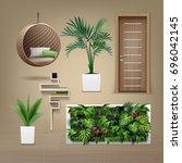 vector set of interior... | Shutterstock .eps vector #696042145