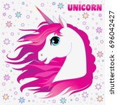 unicorn head portrait vector...   Shutterstock .eps vector #696042427