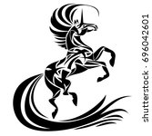 magic tribal unicorn. spiritual ... | Shutterstock .eps vector #696042601