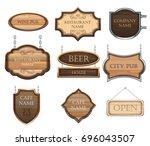 vintage wooden signboards  a... | Shutterstock .eps vector #696043507