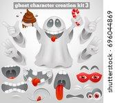 creation set of halloween... | Shutterstock .eps vector #696044869