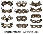collection of black isolated... | Shutterstock .eps vector #696046201