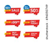 set of offers. sale and... | Shutterstock .eps vector #696050749