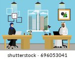 two cartoon muslim office... | Shutterstock .eps vector #696053041